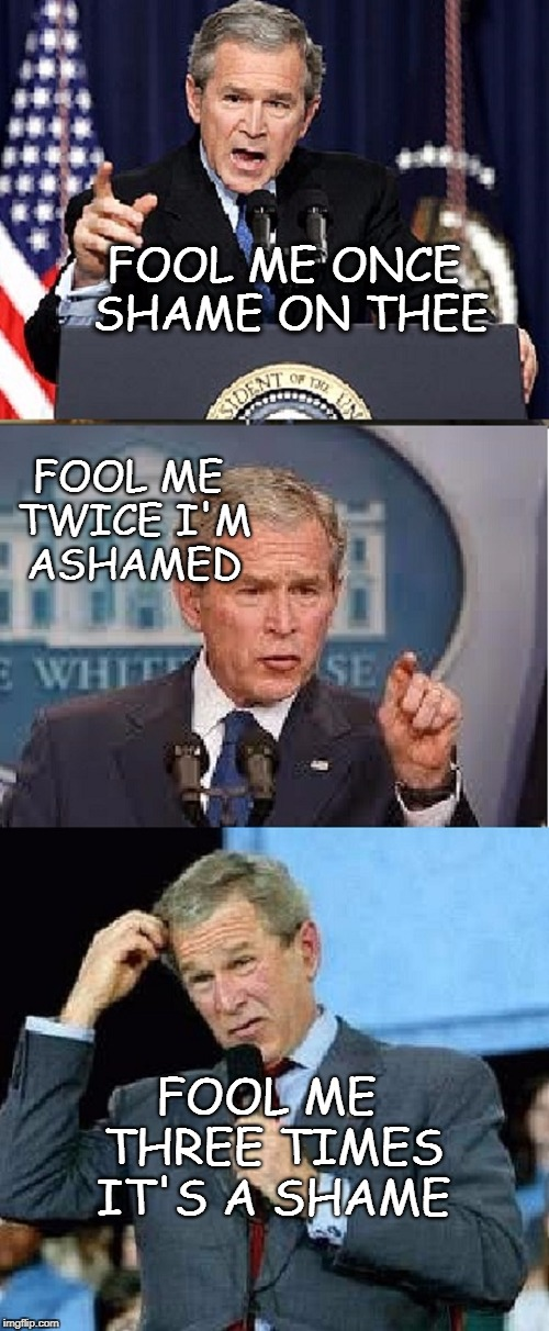 A Bush shouldn't talk | FOOL ME THREE TIMES IT'S A SHAME FOOL ME ONCE SHAME ON THEE FOOL ME TWICE I'M ASHAMED | image tagged in bush league,g busch,trump,president,captain | made w/ Imgflip meme maker