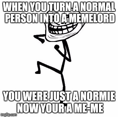 Troll Face Dancing | WHEN YOU TURN A NORMAL PERSON INTO A MEMELORD YOU WERE JUST A NORMIE NOW YOUR A ME-ME | image tagged in troll face dancing | made w/ Imgflip meme maker