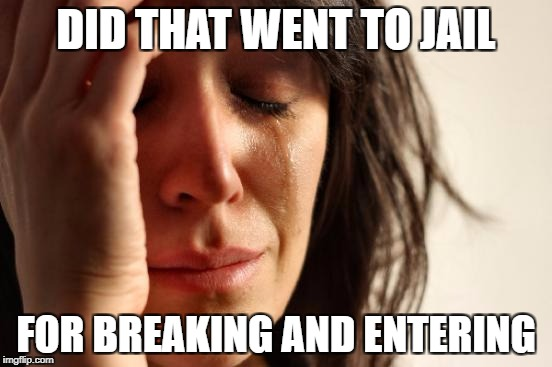 First World Problems Meme | DID THAT WENT TO JAIL FOR BREAKING AND ENTERING | image tagged in memes,first world problems | made w/ Imgflip meme maker