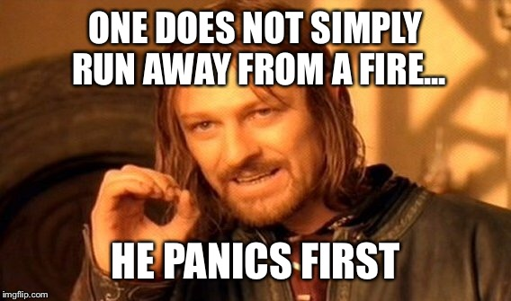 One Does Not Simply Meme | ONE DOES NOT SIMPLY RUN AWAY FROM A FIRE... HE PANICS FIRST | image tagged in memes,one does not simply | made w/ Imgflip meme maker
