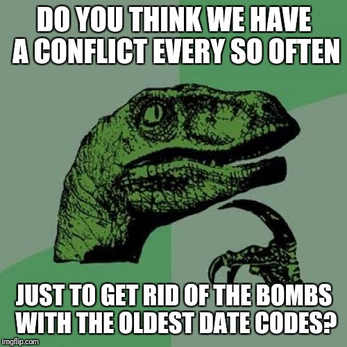 Philosoraptor Meme | DO YOU THINK WE HAVE A CONFLICT EVERY SO OFTEN JUST TO GET RID OF THE BOMBS WITH THE OLDEST DATE CODES? | image tagged in memes,philosoraptor | made w/ Imgflip meme maker
