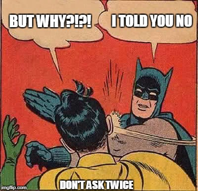 Batman Slapping Robin Meme | BUT WHY?!?! I TOLD YOU NO DON'T ASK TWICE | image tagged in memes,batman slapping robin | made w/ Imgflip meme maker