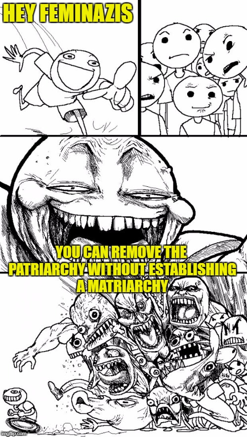 Hey Internet Meme | HEY FEMINAZIS YOU CAN REMOVE THE PATRIARCHY WITHOUT ESTABLISHING A MATRIARCHY | image tagged in memes,hey internet | made w/ Imgflip meme maker