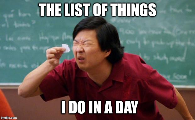 Senior Chang Squinting | THE LIST OF THINGS I DO IN A DAY | image tagged in senior chang squinting | made w/ Imgflip meme maker