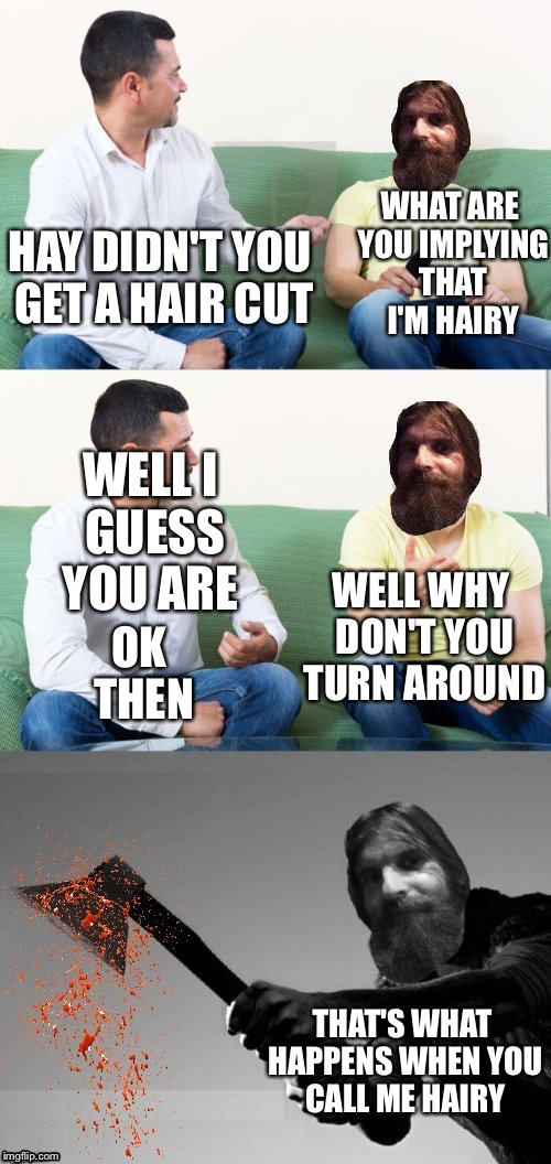 Me when someone calls me hairy or fat. | HAY DIDN'T YOU GET A HAIR CUT OK THEN WHAT ARE YOU IMPLYING THAT I'M HAIRY WELL I GUESS YOU ARE WELL WHY DON'T YOU TURN AROUND THAT'S WHAT H | image tagged in evilmandoevil axe murderer,memes,meme,funny memes,funny meme,funny because it's true | made w/ Imgflip meme maker