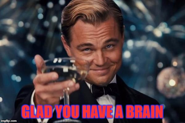 Leonardo Dicaprio Cheers Meme | GLAD YOU HAVE A BRAIN | image tagged in memes,leonardo dicaprio cheers | made w/ Imgflip meme maker