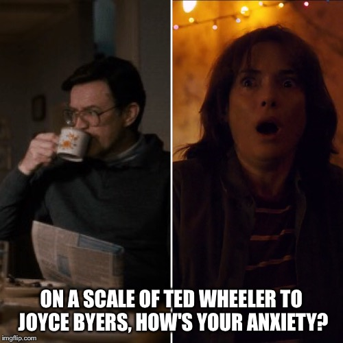 Stranger Things Anxiety Scale | ON A SCALE OF TED WHEELER TO JOYCE BYERS, HOW'S YOUR ANXIETY? | image tagged in anxiety,stranger things | made w/ Imgflip meme maker