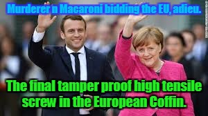 Murderer n Macaroni bidding the EU, adieu. The final tamper proof high tensile screw in the European Coffin. | image tagged in merkel macron murderers | made w/ Imgflip meme maker