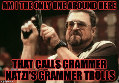 Well I found out today that I'm part german so please no hate ( I'm from america just a heads up) | AM I THE ONLY ONE AROUND HERE THAT CALLS GRAMMER NATZI'S GRAMMER TROLLS | image tagged in memes,am i the only one around here,meme | made w/ Imgflip meme maker