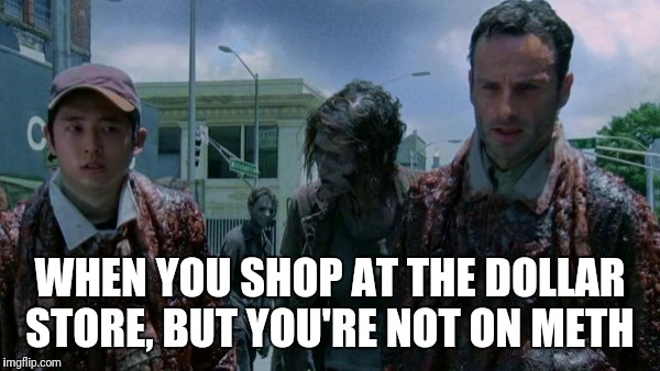Rick And Glenn Dollar Store | WHEN YOU SHOP AT THE DOLLAR STORE, BUT YOU'RE NOT ON METH | image tagged in rick and glenn,the walking dead,dollar store,funny,retail | made w/ Imgflip meme maker