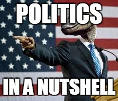 President Raptor | POLITICS IN A NUTSHELL | image tagged in president raptor,anti-politics,anti-government,anti-political | made w/ Imgflip meme maker