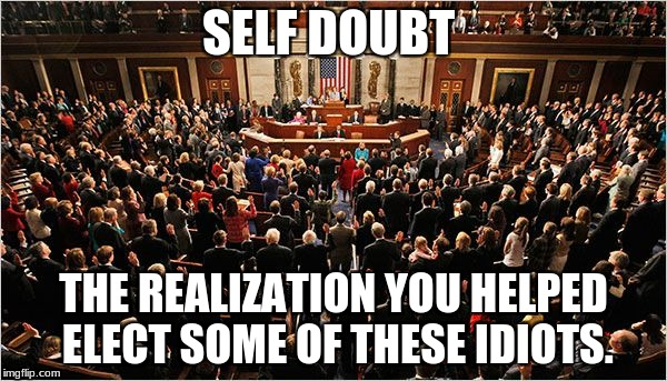 Congress | SELF DOUBT THE REALIZATION YOU HELPED ELECT SOME OF THESE IDIOTS. | image tagged in congress | made w/ Imgflip meme maker
