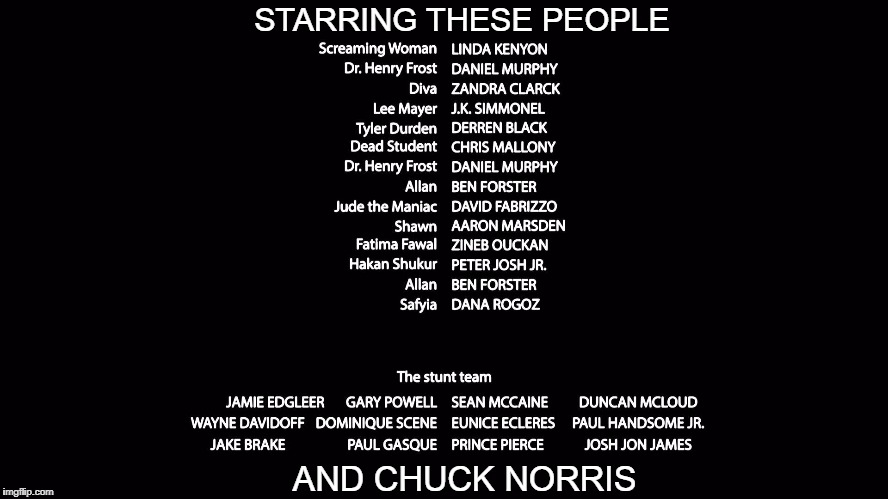movie credentials | STARRING THESE PEOPLE AND CHUCK NORRIS | image tagged in movie credentials,funny,too funny | made w/ Imgflip meme maker