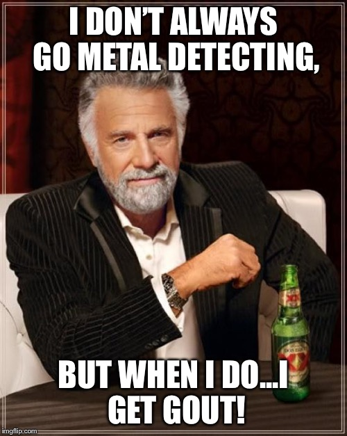 The Most Interesting Man In The World Meme | I DON'T ALWAYS GO METAL DETECTING, BUT WHEN I DO...I GET GOUT! | image tagged in memes,the most interesting man in the world | made w/ Imgflip meme maker