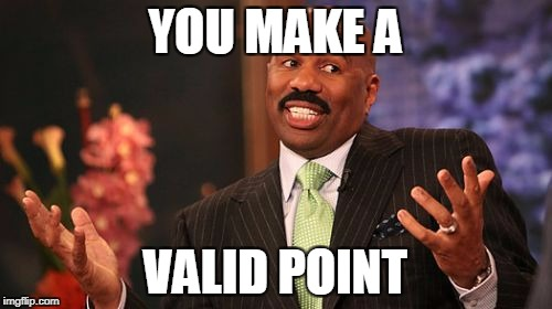 Steve Harvey Meme | YOU MAKE A VALID POINT | image tagged in memes,steve harvey | made w/ Imgflip meme maker