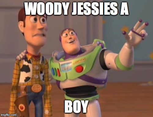 X, X Everywhere Meme | WOODY JESSIES A BOY | image tagged in memes,x x everywhere | made w/ Imgflip meme maker