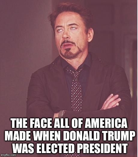 Face You Make Robert Downey Jr Meme | THE FACE ALL OF AMERICA MADE WHEN DONALD TRUMP WAS ELECTED PRESIDENT | image tagged in memes,face you make robert downey jr | made w/ Imgflip meme maker