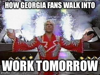 Ric Flair Entrance | HOW GEORGIA FANS WALK INTO WORK TOMORROW | image tagged in ric flair entrance | made w/ Imgflip meme maker
