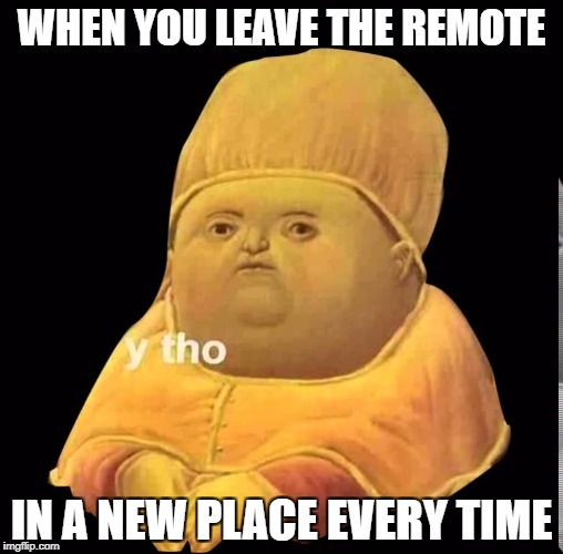 where did i leave the remote | WHEN YOU LEAVE THE REMOTE IN A NEW PLACE EVERY TIME | image tagged in y tho | made w/ Imgflip meme maker