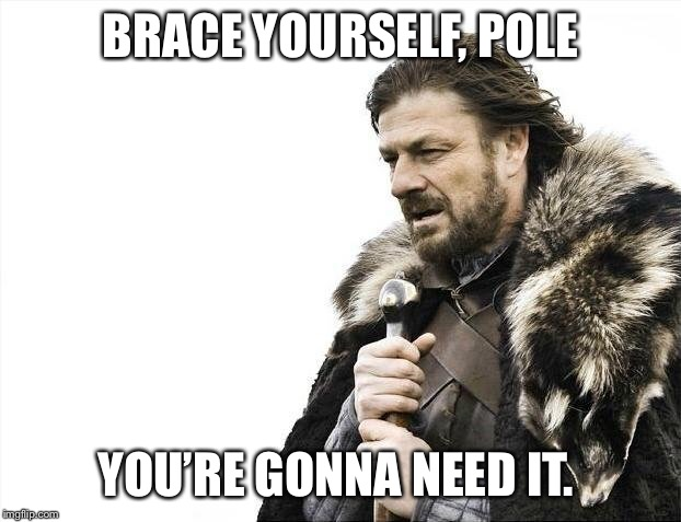 Brace Yourselves X is Coming Meme | BRACE YOURSELF, POLE YOU'RE GONNA NEED IT. | image tagged in memes,brace yourselves x is coming | made w/ Imgflip meme maker