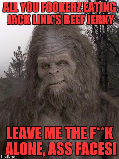 Sasquatch | ALL YOU FOOKERZ EATING JACK LINK'S BEEF JERKY LEAVE ME THE F**K ALONE, ASS FACES! | image tagged in sasquatch | made w/ Imgflip meme maker