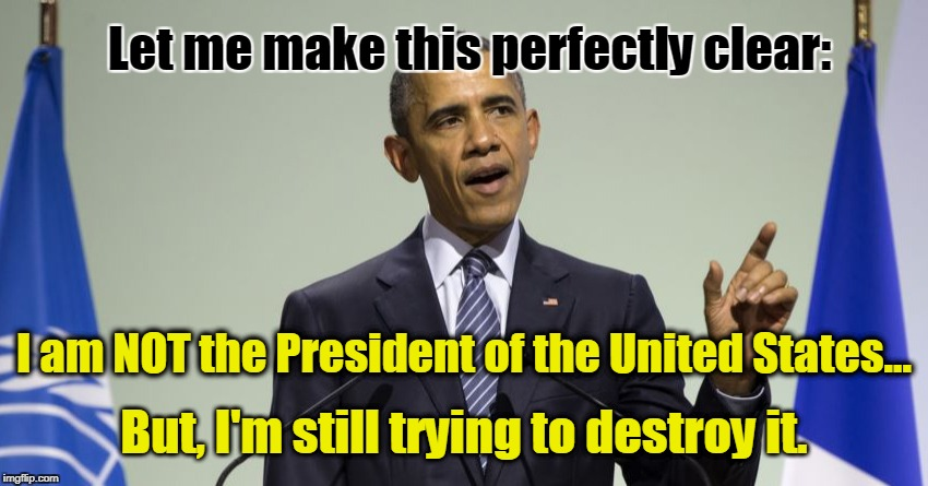 Obama NOT President |  Let me make this perfectly clear:; I am NOT the President of the United States... But, I'm still trying to destroy it. | image tagged in butthurt obama,obama,destroy usa,pos | made w/ Imgflip meme maker