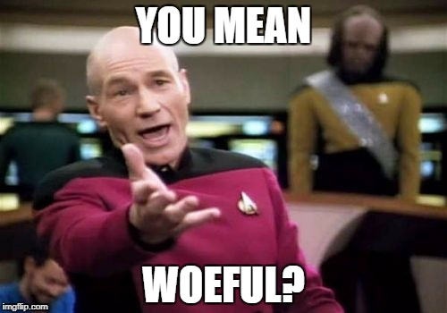Picard Wtf Meme | YOU MEAN WOEFUL? | image tagged in memes,picard wtf | made w/ Imgflip meme maker