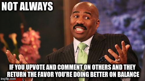 Steve Harvey Meme | NOT ALWAYS IF YOU UPVOTE AND COMMENT ON OTHERS AND THEY RETURN THE FAVOR YOU'RE DOING BETTER ON BALANCE | image tagged in memes,steve harvey | made w/ Imgflip meme maker