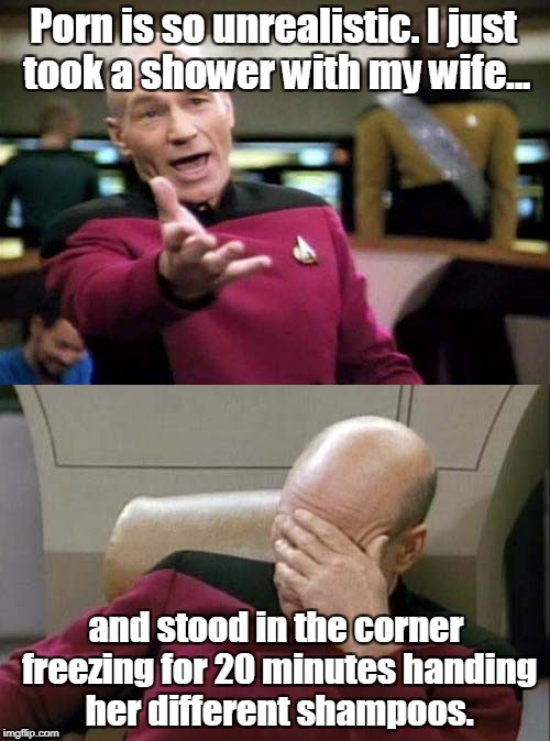 Picard WTF and Facepalm combined | Porn is so unrealistic. I just took a shower with my wife... and stood in the corner freezing for 20 minutes handing her different shampoos. | image tagged in picard wtf and facepalm combined | made w/ Imgflip meme maker