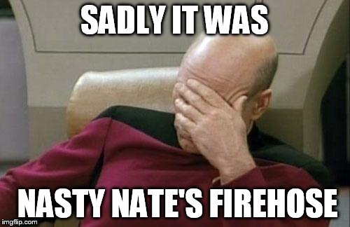 Captain Picard Facepalm Meme | SADLY IT WAS NASTY NATE'S FIREHOSE | image tagged in memes,captain picard facepalm | made w/ Imgflip meme maker