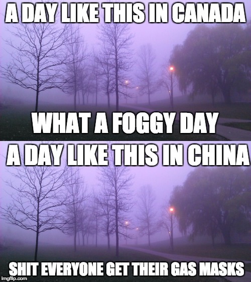 FOGGY DAY | A DAY LIKE THIS IN CANADA WHAT A FOGGY DAY A DAY LIKE THIS IN CHINA SHIT EVERYONE GET THEIR GAS MASKS | image tagged in memes,pollution | made w/ Imgflip meme maker