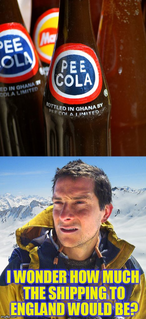 Food Week Nov 29 - Dec 5...A TruMooCereal Event | I WONDER HOW MUCH THE SHIPPING TO ENGLAND WOULD BE? | image tagged in memes,bear grylls,pee,cola,food week,funny memes | made w/ Imgflip meme maker