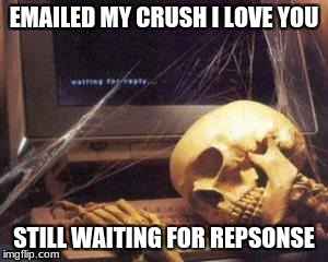 waiting for Gordon ruling | EMAILED MY CRUSH I LOVE YOU STILL WAITING FOR REPSONSE | image tagged in waiting for gordon ruling | made w/ Imgflip meme maker