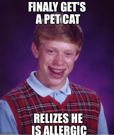 Bad Luck Brian Meme | FINALY GET'S A PET CAT RELIZES HE IS ALLERGIC | image tagged in memes,bad luck brian,funny,meme,funny memes,funny meme | made w/ Imgflip meme maker
