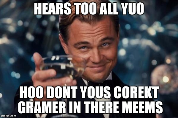 Leonardo Dicaprio Cheers Meme | HEARS TOO ALL YUO HOO DONT YOUS COREKT GRAMER IN THERE MEEMS | image tagged in memes,leonardo dicaprio cheers | made w/ Imgflip meme maker