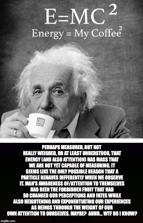 Einstein *high* on Quantum Physics | PERHAPS MEASURED, BUT NOT REALLY WEIGHED, OR AT LEAST UNDERSTOOD, THAT ENERGY (AND ALSO ATTENTION) HAS MASS THAT WE ARE NOT YET CAPABLE OF M | image tagged in energy,attention,awareness,quantum physics,albert einstein,coffee | made w/ Imgflip meme maker