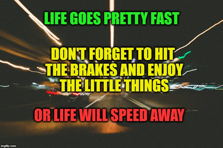 The pace of life | LIFE GOES PRETTY FAST DON'T FORGET TO HIT THE BRAKES AND ENJOY THE LITTLE THINGS OR LIFE WILL SPEED AWAY | image tagged in life,motivation,live,inspirational quote,speed,enjoy | made w/ Imgflip meme maker