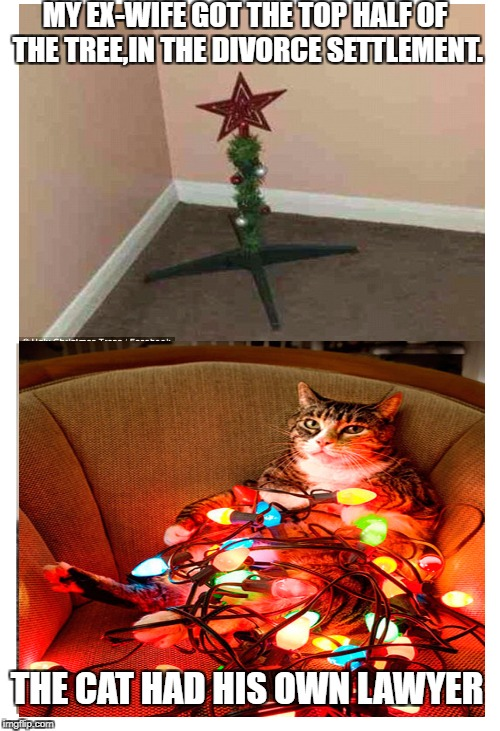 Happy Holidays anyway! | MY EX-WIFE GOT THE TOP HALF OF THE TREE,IN THE DIVORCE SETTLEMENT. THE CAT HAD HIS OWN LAWYER | image tagged in funny memes,cat,merry christmas | made w/ Imgflip meme maker