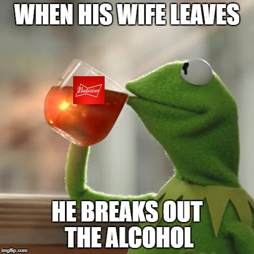Where They Are Now | WHEN HIS WIFE LEAVES HE BREAKS OUT THE ALCOHOL | image tagged in memes,kermit the frog | made w/ Imgflip meme maker