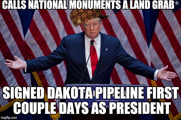 Donald Trump | CALLS NATIONAL MONUMENTS A LAND GRAB SIGNED DAKOTA PIPELINE FIRST COUPLE DAYS AS PRESIDENT | image tagged in donald trump,scumbag | made w/ Imgflip meme maker