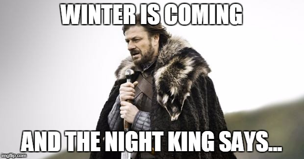 Winter Is Coming | WINTER IS COMING AND THE NIGHT KING SAYS... | image tagged in winter is coming | made w/ Imgflip meme maker