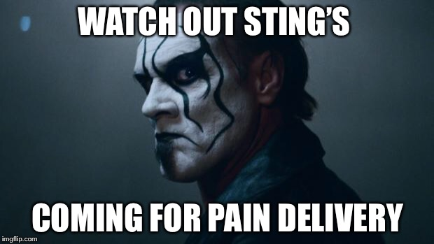 Sting WWE | WATCH OUT STING'S COMING FOR PAIN DELIVERY | image tagged in sting wwe | made w/ Imgflip meme maker