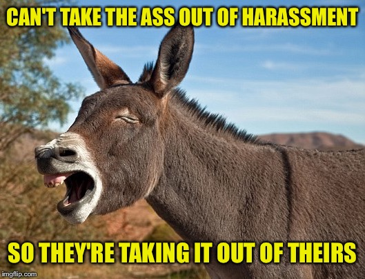 CAN'T TAKE THE ASS OUT OF HARASSMENT SO THEY'RE TAKING IT OUT OF THEIRS | made w/ Imgflip meme maker