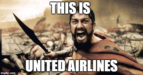 Sparta Leonidas Meme | THIS IS UNITED AIRLINES | image tagged in memes,sparta leonidas | made w/ Imgflip meme maker