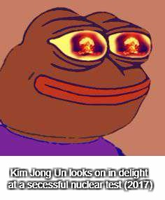 Rare historical Footage | Kim Jong Un looks on in delight at a secessful nuclear test (2017) | image tagged in memes,funny,colorized | made w/ Imgflip meme maker