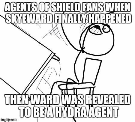 Table Flip Guy Meme | AGENTS OF SHIELD FANS WHEN SKYEWARD FINALLY HAPPENED THEN WARD WAS REVEALED TO BE A HYDRA AGENT | image tagged in memes,table flip guy | made w/ Imgflip meme maker