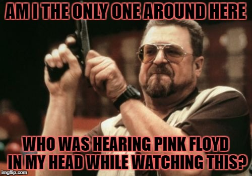 Am I The Only One Around Here Meme | AM I THE ONLY ONE AROUND HERE WHO WAS HEARING PINK FLOYD IN MY HEAD WHILE WATCHING THIS? | image tagged in memes,am i the only one around here | made w/ Imgflip meme maker