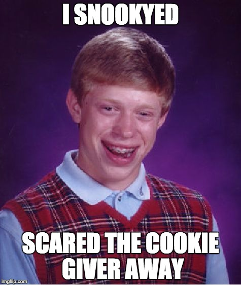 Bad Luck Brian Meme | I SNOOKYED SCARED THE COOKIE GIVER AWAY | image tagged in memes,bad luck brian | made w/ Imgflip meme maker