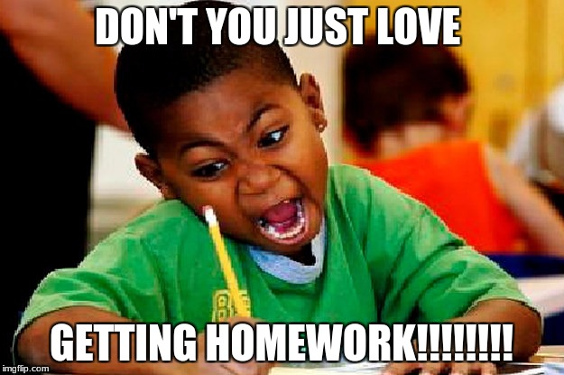 homework | DON'T YOU JUST LOVE GETTING HOMEWORK!!!!!!!! | image tagged in homework | made w/ Imgflip meme maker