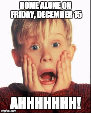 Home Alone Kid  | HOME ALONE ON FRIDAY, DECEMBER 15 AHHHHHHH! | image tagged in home alone kid | made w/ Imgflip meme maker
